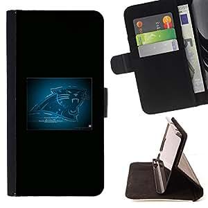 KingStore / Leather Etui en cuir / HTC One M8 / Carolina Panther
