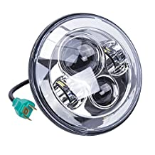 Ohmotor 7 Inch 75W Round Daymaker LED Projector Motorcycle Headlight Waterproof Bulb for Harley Davidson Motorcycle & Jeep Wrangler LED Headlamp (Silver)