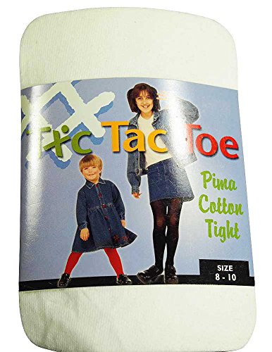 Tic Tac Toe - Big Girls Pima Cotton Tight, White (Tic Tac Toe Cotton Tights)