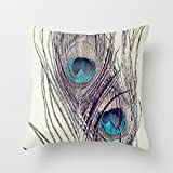 Vintage Peacock Feathers Pillow Covers Decorative Throw Pillow Case Cushion Covers 18 x 18 for Home Decor