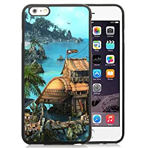 Beautiful And Unique Designed With Island Ship House Ocean Palm Trees For iPhone 6 Plus 5.5 Inch TPU Phone Case