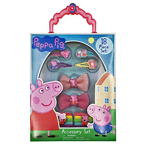 Peppa Pig Kids Girls 18pc Hair and Jewelry Accessories Bag Set Ages 3+: 4 Snap Clips 2 Bows and 12 (4-h Horse Costume Ideas)