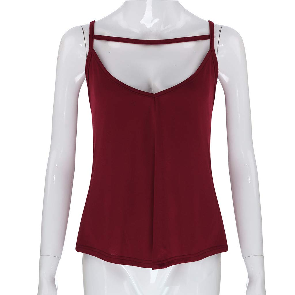 HHei_K Women Sexy Pure Color Leisure Keyhole Vest Summer Casual Cut Out Sleeveless Sling Shirt Blouse O-Neck Tank Top Wine by HHei_K (Image #5)