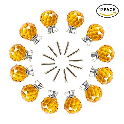 ANJUU 12 Pcs 30mm Round Shape Crystal Glass Cabinet Knobs with Screws Drawer Knob Pull Handle Used for Kitchen, Dresser, Door, Cupboard - Crystal Glasses Round