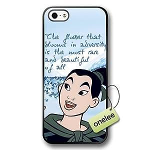 Disney Cartoon Mulan Soft Rubber(TPU) Phone Case & Cover for iPhone 5/5s - Black