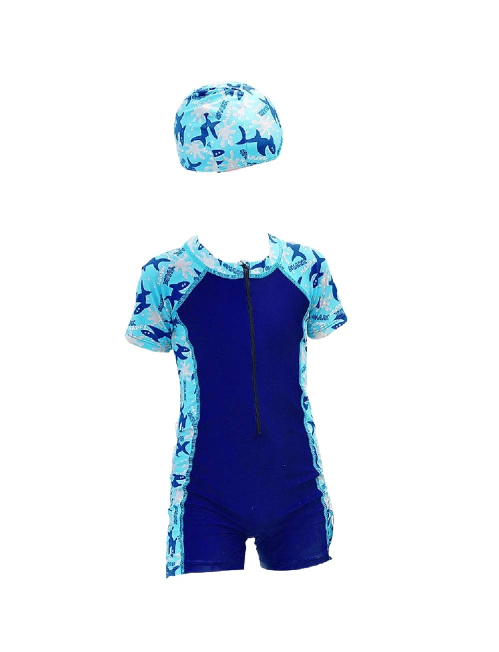 Yunqir Kids Wetsuit 2 Pcs Children's Short One Piece Swimsuits Kids Whales Patterns Sunscreen Wetsuit for Water Sports(Dark-Blue)