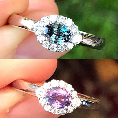 Natural Certified Alexandrite Diamond Ring 0.82 cttw Color Change From Blue Green to Purple 14K White Gold Size 7
