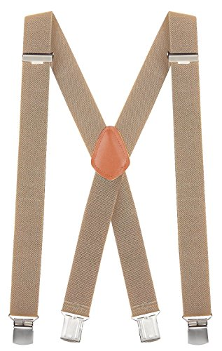 "Buyless Fashion 48'' Men's Heavy Duty Work Elastic Adjustable 1 1/4"" X Back Suspender-Tan by Buyless Fashion"