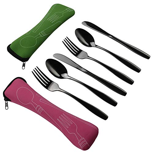- Wekiog Silverware Single Set, Black Stainless Steel Camping Cutlery, 6 Piece Knife Fork Spoon