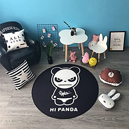 Decoration Baby crawling pad Childrens cushion Anti-slip and Washable Round carpet Lily/&her friends Floor Mat Multi-function Infant climbing mattress Panda, Diameter: 60cm