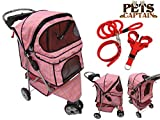 Premium Quality 3-Wheel Pet Carrier Stroller For Cat & Dog By Pets Captain - Mesh Sides & Undercarriage Storage - 2 Cup Holders - Foldable - Bonus Leash - Collar & Harness - Red Grid - OWS33BL-REGD