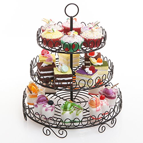 Round Black Metal Wire 3 Tier Cupcake Stand Tower / Appetizer & (Serving Display)