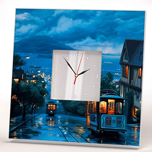 San Francisco Drawn View Wall Clock Framed Mirror Printed Decor Travel Fan Art Home Room Design Gift