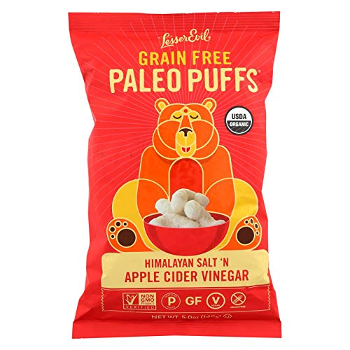 LESSER EVIL, PALEO PUFFS, OG2, APL CDR V, Pack of 9, Size 5 OZ - No Artificial Ingredients Gluten Free Low Sodium Vegan Wheat Free Yeast Free 95%+ Organic