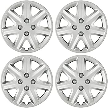Hub-Caps for Select Honda Civic (Pack of 4) 15 Inch Silver Wheel Covers