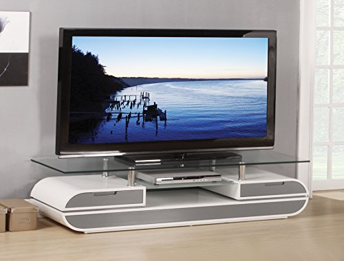 Set Tv Stand Clear (ACME Lainey White and Gray TV Stand)