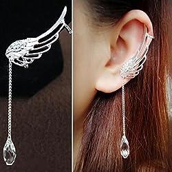 Angel Wing Crystal Earring Drop Dangle Stud Cuff Clip