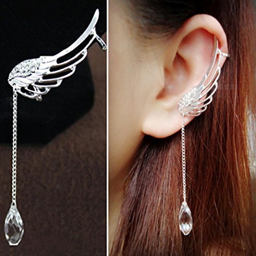 - MAIDIEN Charm Elegant Angel Wing Crystal Earrings Drop Dangle Ear Stud Cuff Clip