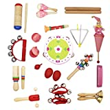 Baosity Musical Instrument 17 Types 22pcs Percussion Instruments Toy for Toddlers Kids Early Musical Educational Toys Set - Red, as described