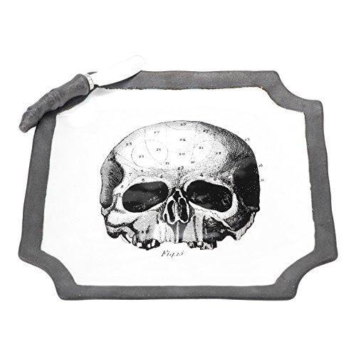 FLOOR | 9 Halloween Skull and Bone Ceramic Plate with Pewter/Metal Spreader ()