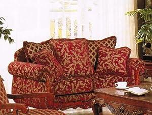 Amazon Com Loveseat Sofa Burgundy Amp Gold Floral Chenille