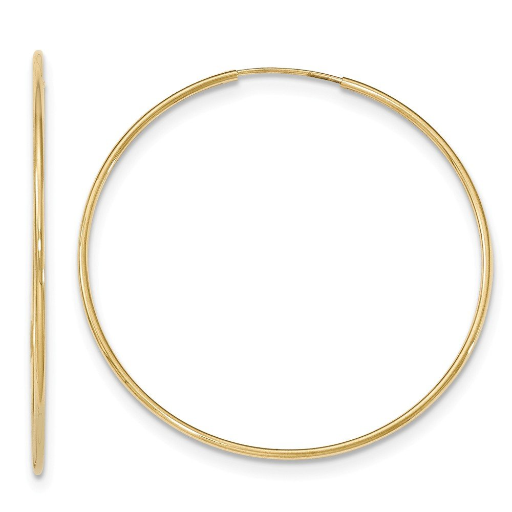 Roy Rose Jewelry 10K Yellow Gold Polished Endless Tube Large Hoop Earrings 72mm ~ almost 3''