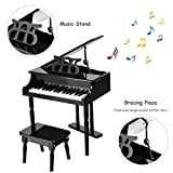 Goplus Classical Kids Piano, 30 Keys Wood Toy Grand Piano w/ Bench, Musical Instrument Toy, Great Gift for Girls and Boys