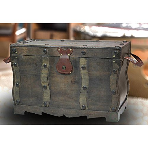 Antique Style Distressed Wooden Pirate Treasure Chest, Coffee Table Trunk