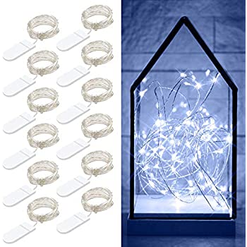 Govee 12 Packs Fairy String Lights, 3.3FT 20 LEDs Battery Operated Jar Lights Bedroom Patio Wedding Party Christmas(Cool White)