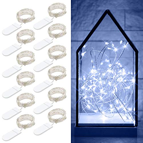 Govee 12 Packs Fairy String Lights, 3.3FT 20 LEDs Battery Operated Jar Lights Bedroom Patio Wedding Party Christmas (Cool White) -