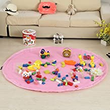 Coofone Large 59 Inches Children's Play Mat & Toys Storage Bag - Toys Organizer Quick Pouch Portable Kids Toy Quick Organizer Storage Bag Play Mat For Lego (Pink)
