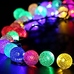Balight 20ft 30 LED Crystal Ball Waterproof Outdoor String Lights Solar Powered Globe Fairy String Lights for Outside Garden, Yard, Home, Landscape, Halloween Christmas Party (multi-color)