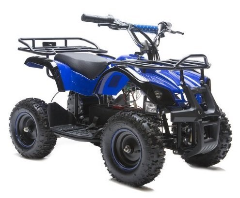 Rosso Motors Kids ATV Kids Quad 4 Wheeler Ride On Utility with 800W 36V Battery Electric Power Lights in Blue Motorcycle for Kids, Disc Brake System and Reverse for Child (Miniature Atv)