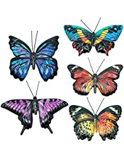 OneAndes 5 Pack Metal Butterfly Wall Decor Butterflies Wall Art Decorations for Outdoor Garden Fence Yard Patio