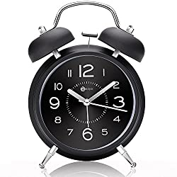 4 Twin Bell Alarm Clock with Metal Dial, Nightlight, No Ticking Battery Operated Loud Alarm Clock for Bedroom (Black)