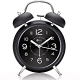 4'' Twin Bell Alarm Clock with Metal Dial, Nightlight, No Ticking Battery Operated Loud Alarm Clock for Bedroom (Black)