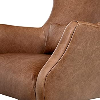 """Rivet Parks Mid-Century Modern Wingback Leather Chair, 30.5"""" W, Saddle"""