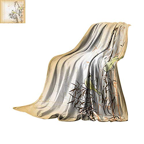 Lightweight Blanket Bamboo House Decor Collection,Bamboo Leaf and Birds on The Branch Pine Grass Family Artistic Illustration,Yellow Brown Cream Digital Printing Blanket Bed or Couch 50