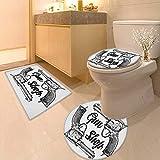 Printsonne 3 Piece Extended Bath mat Set Modern Western Movies Cowboy Texas Times Sketchy Two Guns Pistols Image Black 3 Piece Toilet Cover Set