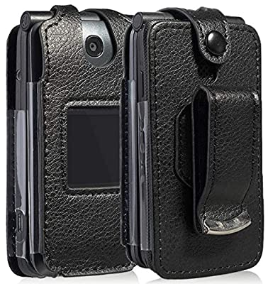 Go Flip Phone Case, Nakedcellphone [Black Vegan Leather] Form-Fit Cover with [Built-in Screen Protection] and [Metal Belt Clip] for Alcatel Go Flip V, MyFlip 4G, QuickFlip, AT&T Cingular Flip 2