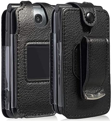 Go Flip Phone Case, Nakedcellphone [Black Vegan Leather] Form-Fit Cover with [Built-in Screen Protection] and [Metal Belt Clip] for Alcatel Go Flip V, MyFlip 4G, QuickFlip, AT&T Cingular Flip 2, 4044
