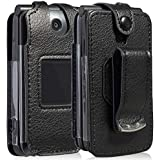 Case for Go Flip Phone, Nakedcellphone [Black Vegan Leather] Form-Fit Cover with [Built-in Screen Protection] and [Metal Belt