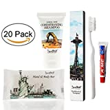 TRAVELWELL Landscape Series Hotel Toiletries Amenities Travel Size Massage Cleaning Soaps 1.0oz/28g,Shampoo & Conditioner 2 in 1,Tooth Cleaners,each 20 Individually Wrapped