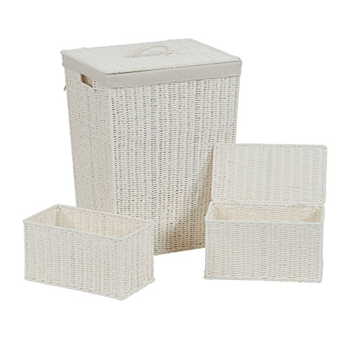 Household Essentials Paper Rope, White (Set Rope Boxes Woven)