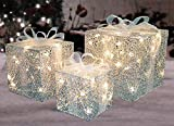 Northlight Set of 3 Lighted Glitter Gift Box Present Christmas Yard Art Decorations 9'', 9''/12''/15'', Silver
