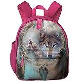 Digital Print 3D Wolf Double Zipper Waterproof Children Schoolbag With Front Pockets For Kids Boys Girl