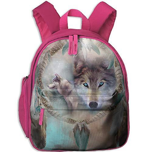 Digital Print 3D Wolf Double Zipper Waterproof Children Schoolbag With Front Pockets For Kids Boys Girl by TPXYJOF