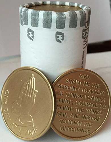 Bulk Lot of 25 Praying Hands One Day At A Time Bronze Medallions Serenity Prayer Chips from wendells