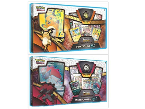 Pokemon Trading Card Game Shining Legends Raichu GX Collection Box and Shining Legends Zoroark GX Collection Box Bundle, 1 of Each