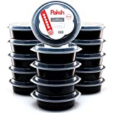 : Paksh Novelty Round Plastic Meal Preparation Container/Food Saver with Clear Lid, Microwave & Dishwasher Safe, 24 oz, 16 Piece